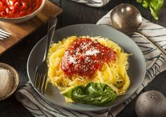 Spaghetti squash makes for a great veggie noodle! When cooked and scooped out, the flesh of this squash resembles spaghetti and is a great, low-calorie addition to many dishes. In this recipe, we're serving the veggie noodles with the HMR Ravioli Entrée.     Ingredients 1 HMR Cheese and Bas