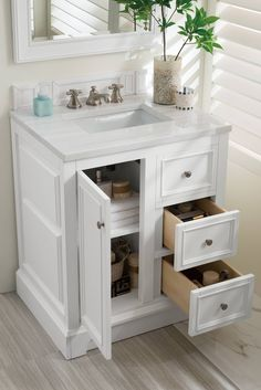James Martin Furniture De Soto - 30 Single Vanity with Solid Surface Top - Bathroom Furniture - Single Vanities - Single Vanities Small Bathroom Sinks, White Vanity Bathroom, Small Bathroom, Small Bathroom Decor, Small Bathroom Sink Vanity, Vanity, Bathrooms Remodel, Bathroom Sink Cabinets, Small Bathroom Vanities