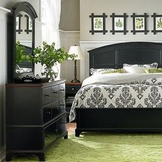 Gray And Green Bedrroms | Pale Gray Walls. Black Furniture. Soft Green Rug.