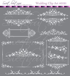 White Vintage Calligraphy Clip Art Clipart DIY by MSweetboutique, $5.99