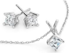 Princess Diamond Solitaire Necklace & Diamond Stud Earrings Set 1.0 Carat (ctw) in 10K White Gold