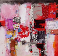 Now,50x50cm,mixed media,contemporary art. Four boards painted,ready to hang up on wall