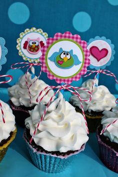 HoooRay Owl Cupcake Toppers from SnowyBliss on etsy $3