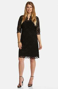 Karen Kane Split Neck Stretch Lace Dress (Plus Size)  | Nordstrom Plus Size Fashion #Karen_Kane #Plus_Size_Fashion #Nordstrom