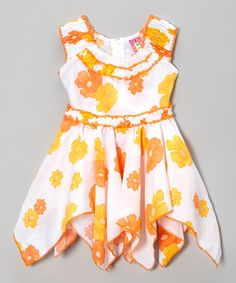 Take a look at the Lele Vintage Orange & White Floral Handkerchief Dress - Toddler & Girls on #zulily today!