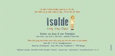 Geboortekaartje Isolde - achterkant - Pimpelpluis - https://www.facebook.com/pages/Pimpelpluis/188675421305550?ref=hl (# meisje - retro - blond - origineel)
