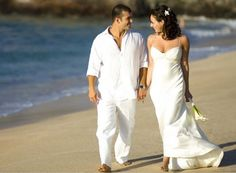 Man white linen shirt beach wedding party special occasion ...