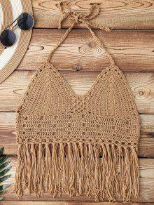 Fringe Crochet Bikini Top - Dark Khaki