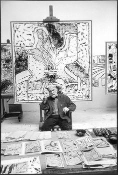 """Pierre Alechinsky in his studio, Bougival, 2004 -by Martine Franck      Martine Franck: """"Venus d'ailleurs"""", peintres et sculpteurs à Paris depuis 1945- an Exhibition: La Maison européenne de la photographie- a Book    from slash"""