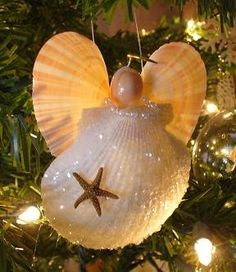 Shell Angel Set of 6 Christmas Ornaments by NatureGirlGiftGarden, $20.00