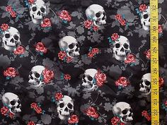 SKULLS &  ROSES  PRINT ON BLACK  100% COTTON FABRIC BY THE 1/2 YARD