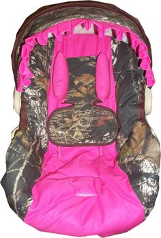 mossy oak camo and hot pink infant car seat by dreammakersdesign, $85.00