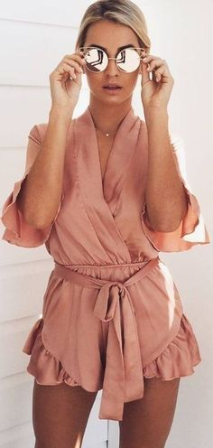 #prefall #muraboutique #outfitideas |  DArk Blush Playsuit