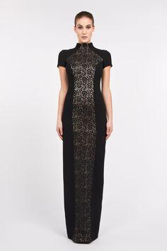 Monika Csutak Lace-paneled Wool-crepe dress
