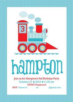 Hampton's 3rd Birthday Party Invitations