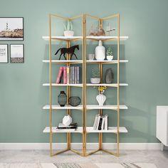 Glass Bookshelves, Modern Bookshelf, Bookshelf Design, Bookcase Shelves, Display Shelves, Metal Bookcase, Step Bookcase, Gold Bookshelf, Open Shelving