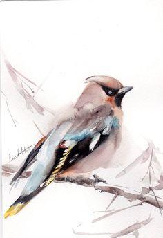 Waxwing Bird Painting, Original Watercolor Painting, Watercolour Art, Modern Art, Bird Art by CanotStop on Etsy #watercolorarts