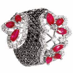 Bruges ring in white gold with diamonds and rubies by Stefan Hafner