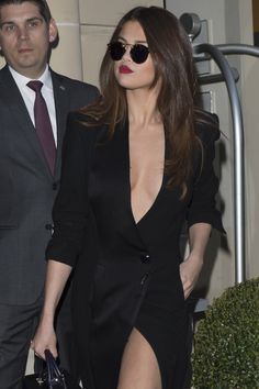 Selena Gomez Rocks Sexy Slit Dress While Out in Paris For Fashion Week: Photo Selena Gomez steps out of her hotel for a night out on Wednesday (March in Paris, France. Selena Gomez Closet, Selena Gomez Style, Paris Fashion Week 2016, Vogue, Marie Gomez, Slit Dress, Dress To Impress, Celebrity Style, Celebs