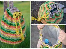 Sommer Rucksack, toll für Wollreste, häkeln und nähen mit vielen Variationen ++ Funny Stripes ++