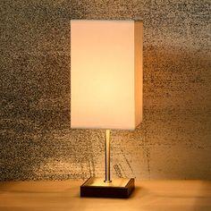 Lampe à poser tactile en métal et abat jour carré en tissu hauteur 34.5cm Duna…