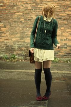 Knee highs and peter pan dress