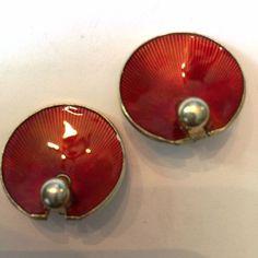 Vintage Hans Myhre Sterling Silver Red Enamel Guilloche Clip Earrings Norway