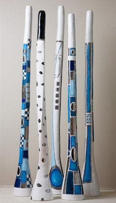 Ceramic Didgeridoos didg music Didgeridoo, Pottery Painting, Painting On Wood, Rain Sticks, Painted Branches, Painted Driftwood, Stick Art, Music Painting, Funky Art