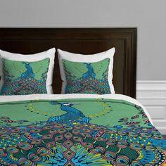 Amazon.com - DENY Designs Geronimo Studio Peacock 1 Duvet Cover, Queen - Peacock Bedding