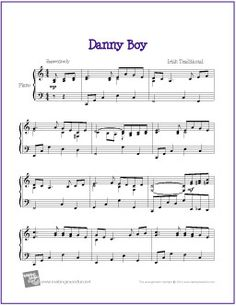 Danny Boy (Celtic) | Sheet Music for Piano - http://makingmusicfun.net/htm/f_printit_free_printable_sheet_music/danny-boy-piano.htm