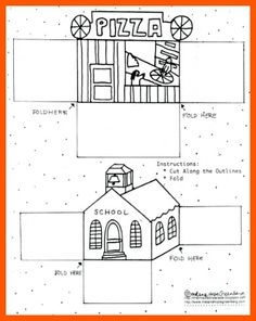 Print and fold a school and pizza parlor for fun pretend play at home. [free printable coloring page]
