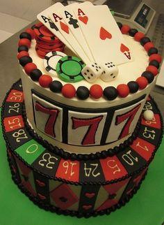 #TuFiestaTip -Pastel con diseño de casino y cobertura de fondant. #coupon code nicesup123 gets 25% off at  Provestra.com Skinception.com