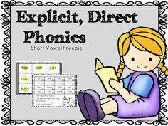 Explicit, Direct Phonics--short vowel freebie!  Great for interventions.