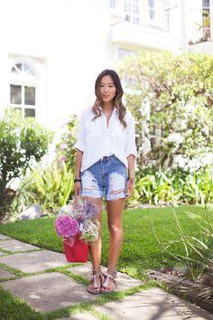 aimee song white shirt denim shorts