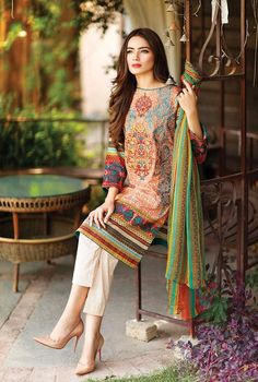Pakistani Fashion Shirt: Fabric: Printed Lawn Shirt. Shalwar/Trousers: Fabric: Plain Trouser. Dupatta: Fabric: Printed Chiffon Dupatta.