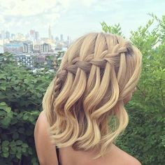 Waterfall Braid Half Updo for Mid Length Hair