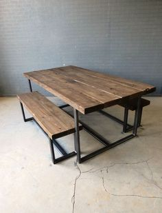 Reclaimed Industrial Chic 6-8 Seater Solid Wood & Metal Dining Table.Bar & Cafe. Garden table potential