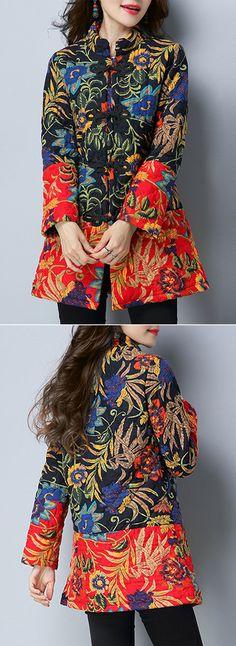 Folk Floral Print Patchwork Frog Button Long Sleeve Women Coats