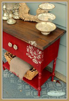 Stenciled + redone: pretty piece of furniture.