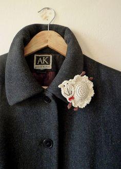 Sheep brooch by MonikaDesign on Etsy, $18.00