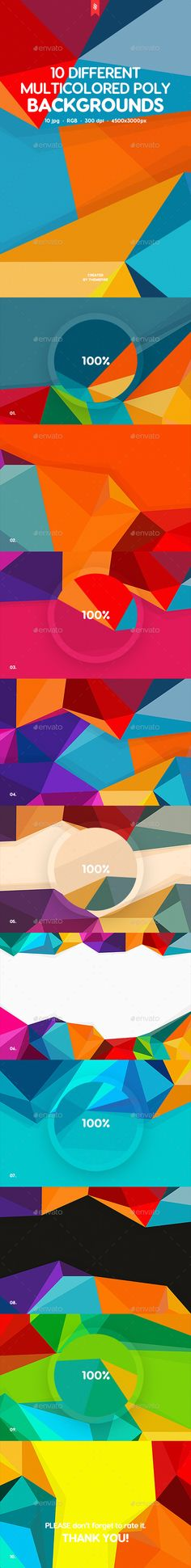 10 Different Multicolored Polygon Backgrounds