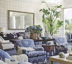 The smart thing about this pattern mix is that the color palette is limited to shades of blue and white. All of the patterns have this one element in common that ties them together. We are seeing many designs…ikats, stripes, florals, geometrics…and they go together because they are all blue and white! So says Saffronia Baldwin. Room design by Susan McGrath.
