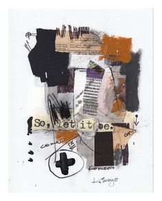8.5x11 abstract collage on paper by kuzennyArt on Etsy