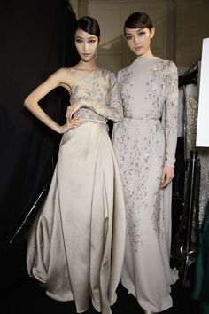 oncethingslookup:  Ji Hye Park and Fei Fei Sun backstage at Elie Saab Fall 2013 Haute Couture