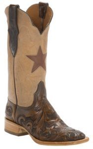 Black Jack® Women's Dark Brown Hand Tooled w/Pearl Maddog Top Double Welt Square Toe Western Boots | Cavender's Boot City