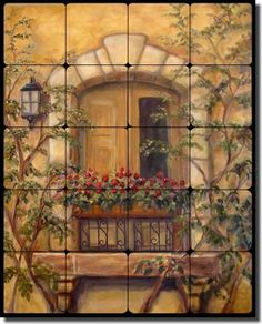 "Tuscan Floral Tumbled Marble Tile Mural Backsplash 20"" x 16"" - Chianti Stone Door by Joanne Morris Artwork On Tile http://www.amazon.com/dp/B0042SXNLE/ref=cm_sw_r_pi_dp_.xdzub1EZXRY0"
