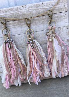 Mauve & Cream Lace Tassel Clip On #diyjewelry