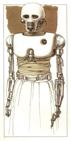 TESB: 2-1B Surgical Droid (Concept sketch by Ralph McQuarrie).  2-1B was the medical droid that attended to Luke after he nearly froze to death on Hoth.