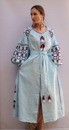 Blue white Vyshyvanka Vita Kin style Embroidered Bohemian Linen Folk Embroidery MIDI Dress Boho Vita Kin Style. Sizes - XS-XXL 039