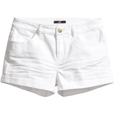 Short slim-fit shorts in stretch cotton twill with a regular waist. H&m Shorts, Casual Shorts, Short Blanc, Short Court, Mini Short, Tumblr Outfits, Girls Wardrobe, Short Outfits, Everyday Fashion